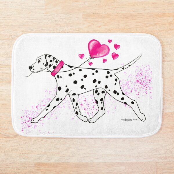 Dalmatian and Hearts Bath Mat