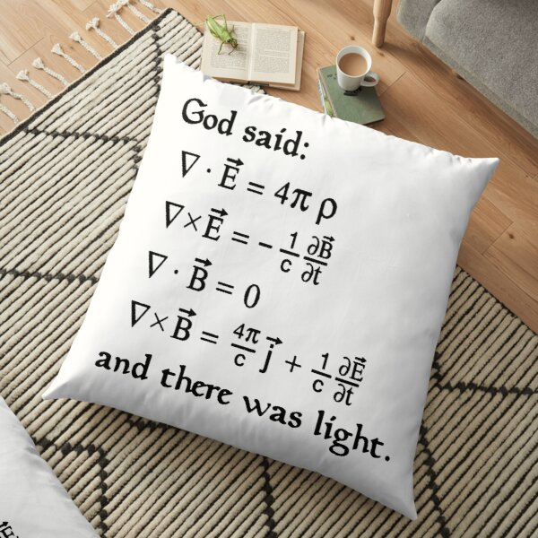 God said Maxwell Equations, and there was light. Floor Pillow