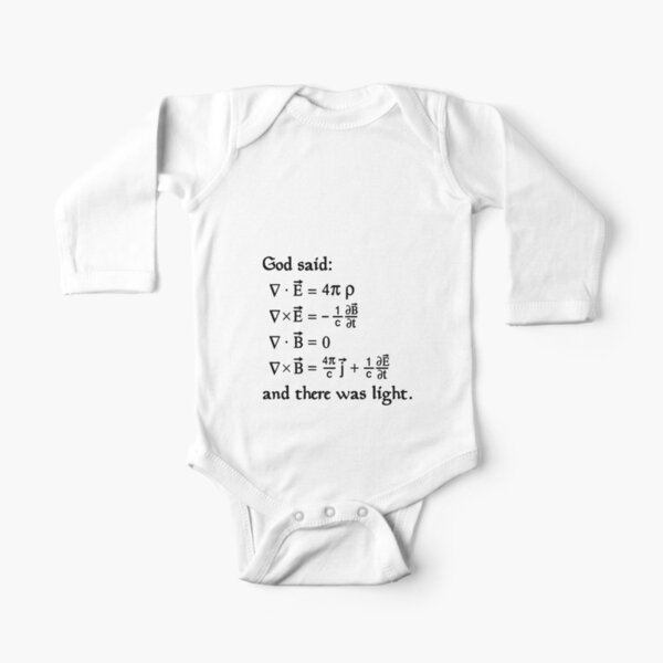 God said Maxwell Equations, and there was light. Long Sleeve Baby One-Piece