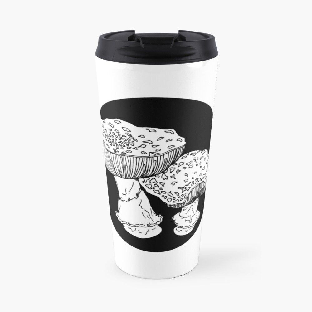 amanita mushrooms illustration Travel Mug