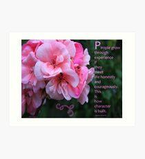 Geranium Blossom With Quote Art Print