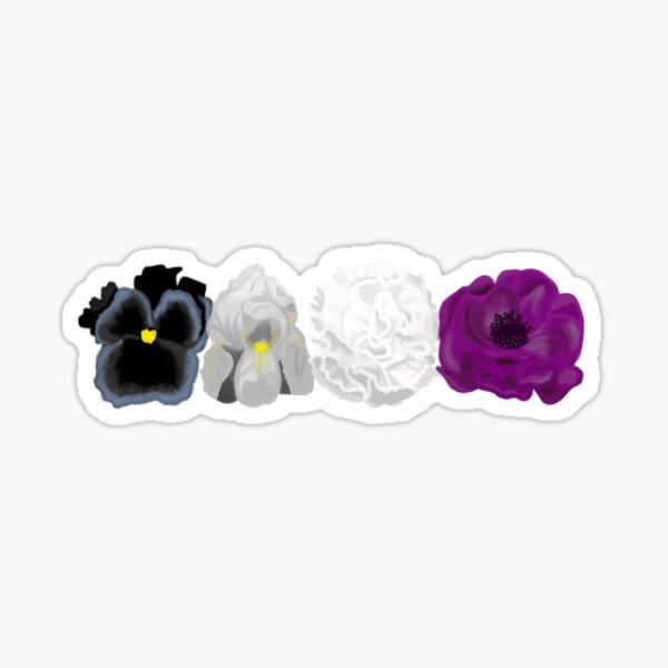 subtle ace pride flowers Sticker
