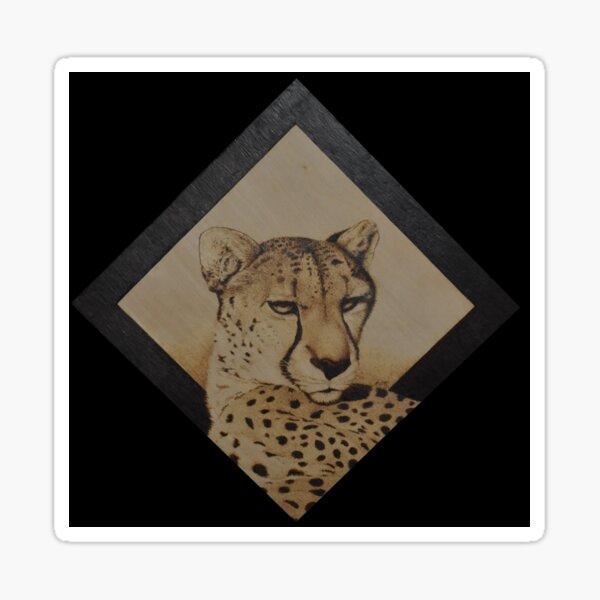 Cheetah pyrography art Sticker