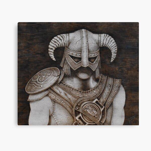 Dragonborn pyrography artwork Canvas Print