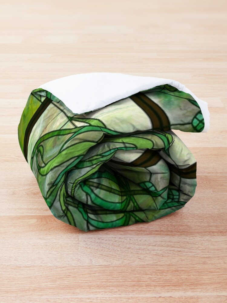 Alternate view of Glass Leaves II: fluid digital art Comforter