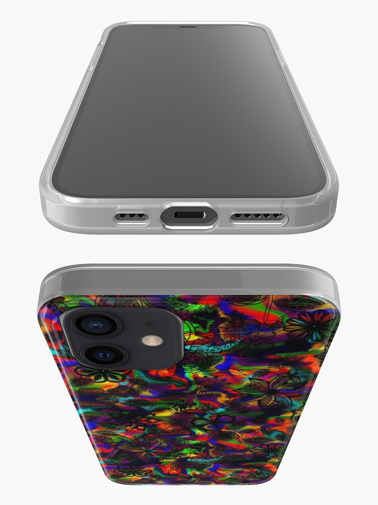Alternate view of Flight Over Flowers of Fantasy - Black on Rainbow iPhone Case & Cover