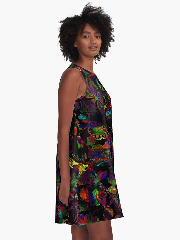 Alternate view of Flight Over Flowers of Fantasy - Rainbow on Black A-Line Dress