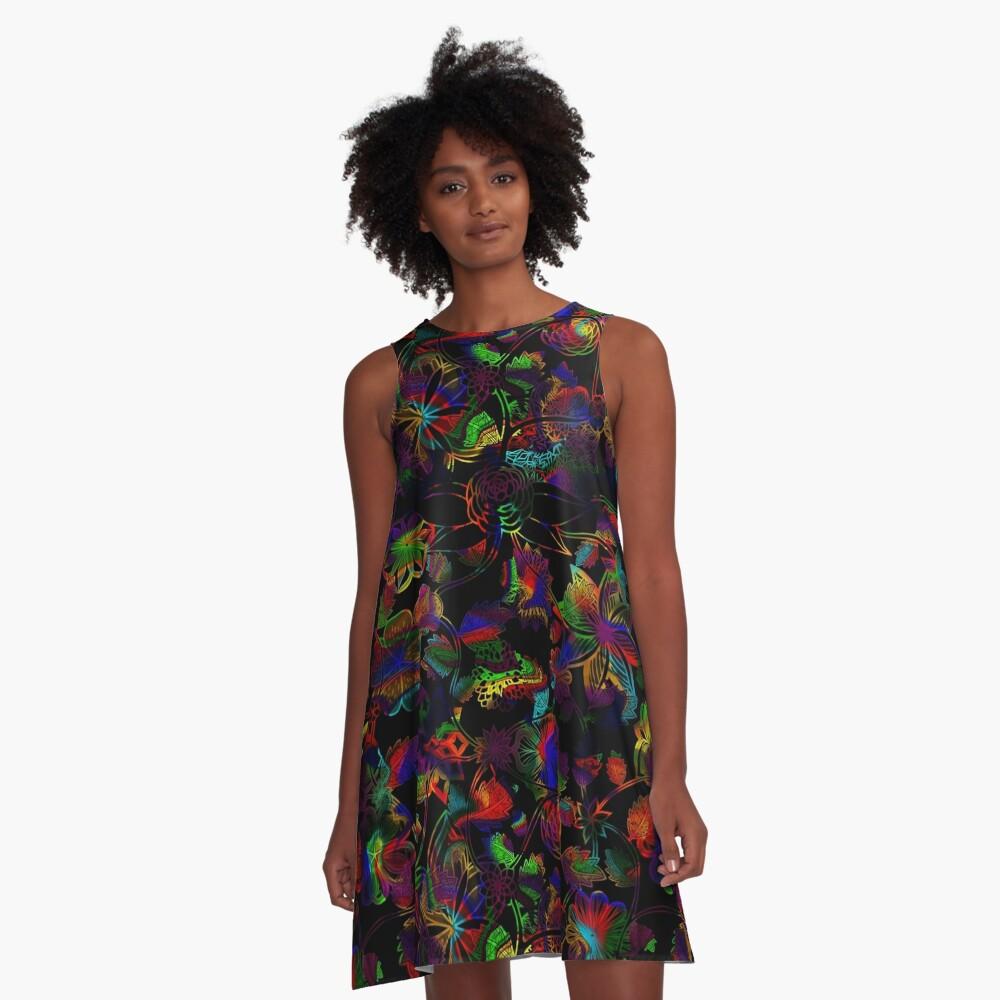 Flight Over Flowers of Fantasy - Rainbow on Black A-Line Dress