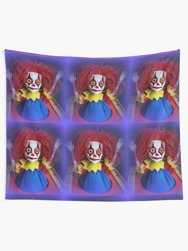 Alternate view of Jack In The Box Clown Horror Doll ~ Lady Scream Tapestry