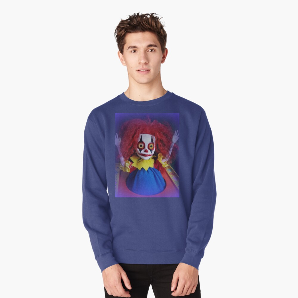 Jack In The Box Clown Horror Doll ~ Lady Scream Pullover Sweatshirt