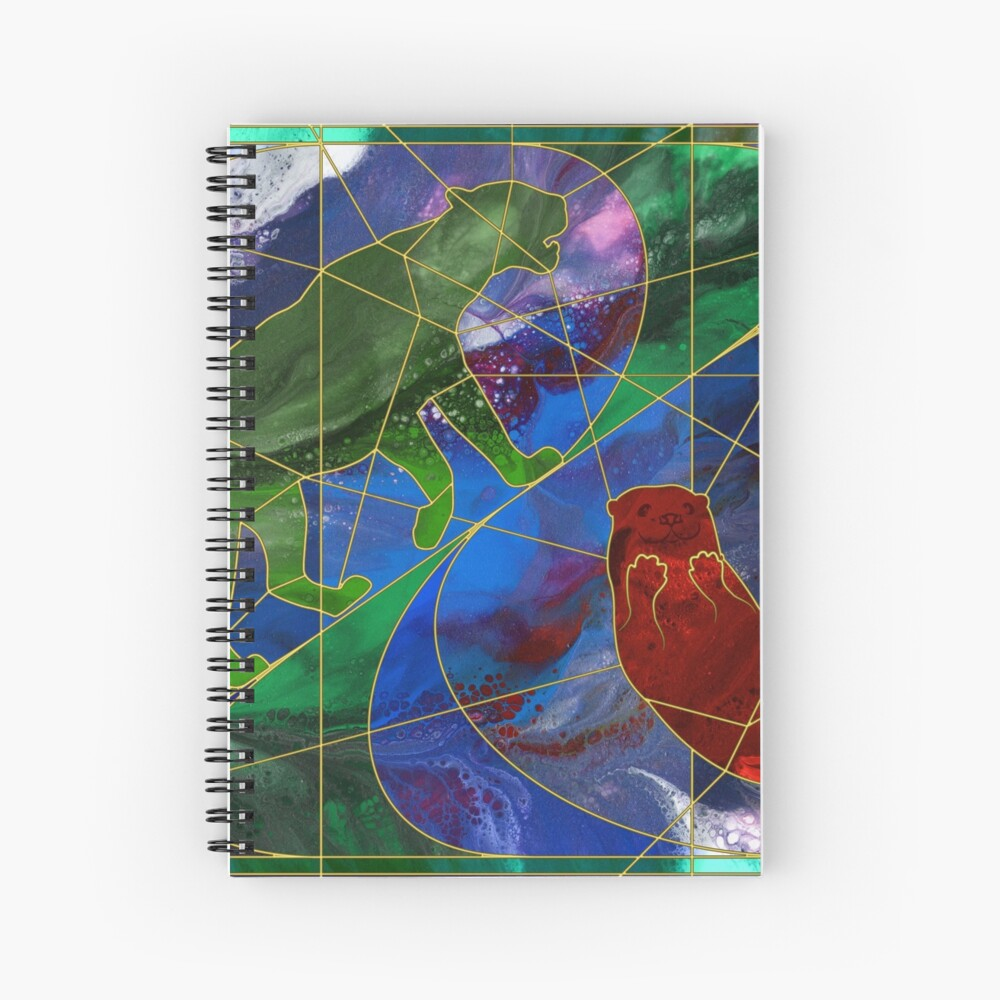 Panther and Otter Stained Glass Window Spiral Notebook