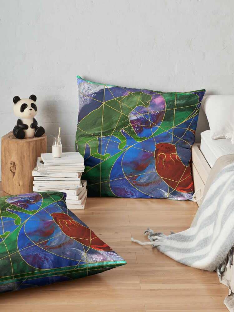 Alternate view of Panther and Otter Stained Glass Window Floor Pillow