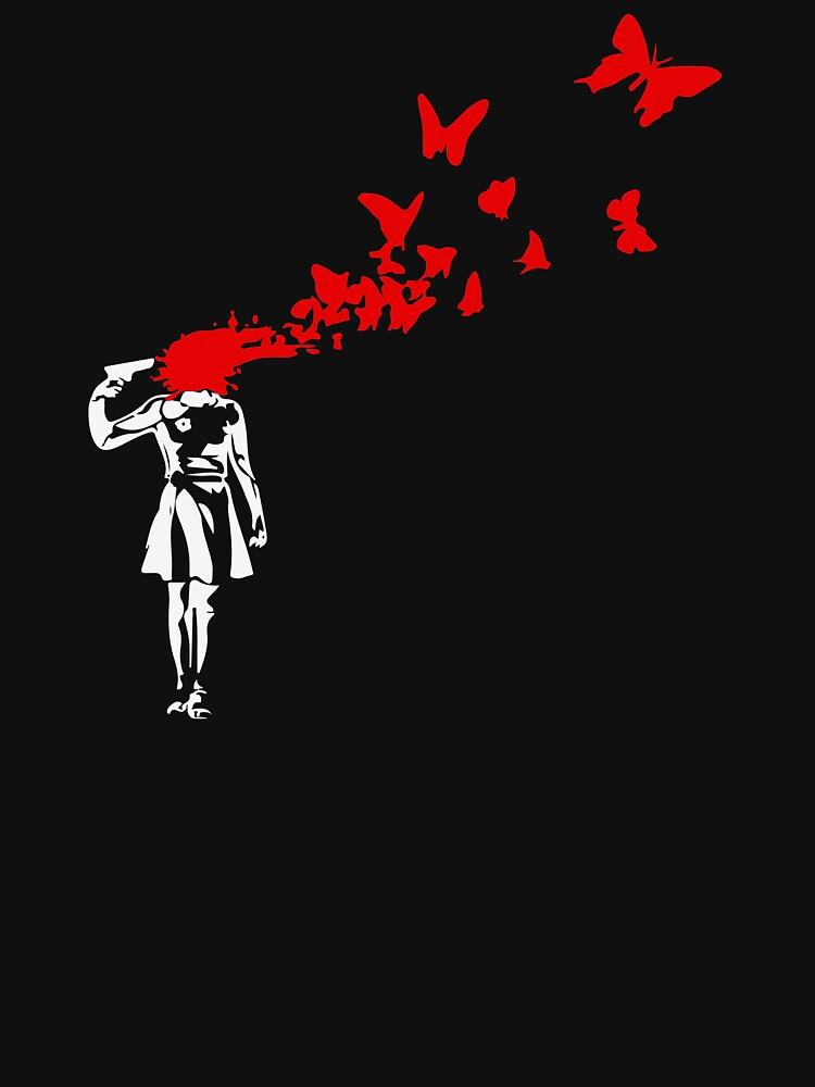 Banksy - Girl Shooting Her Head With Butterfly Design, Streetart Street Art, Grafitti, Artwork, Design For Men, Women by clothorama