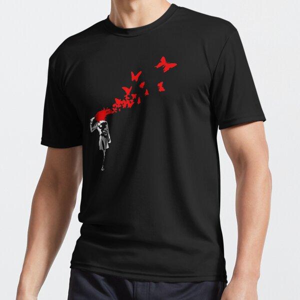 Banksy - Chica disparando su cabeza con diseño de mariposa, Streetart Street Art, Grafitti, Obra de arte, Diseño para hombres, mujeres Camiseta deportiva