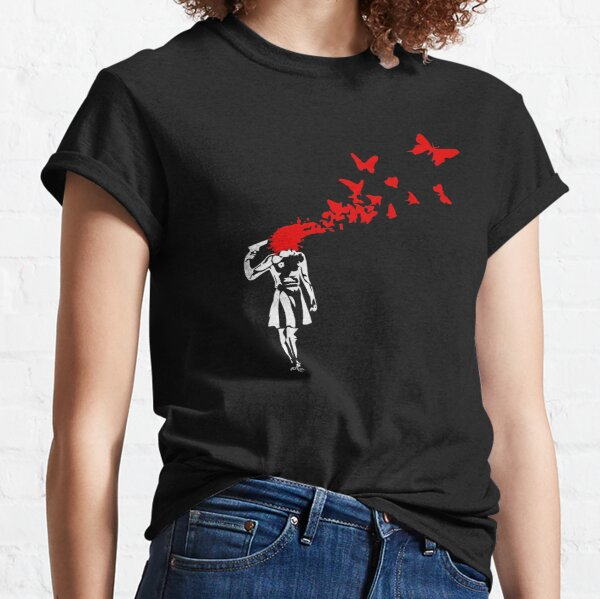 Banksy - Girl Shooting Her Head With Butterfly Design, Streetart Street Art, Grafitti, Artwork, Design For Men, Women Classic T-Shirt