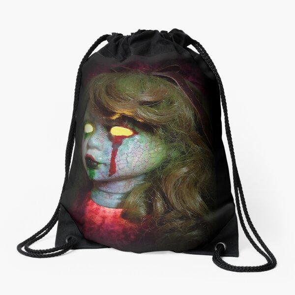 Lady Scream Zombie Horror Doll Head Light Drawstring Bag