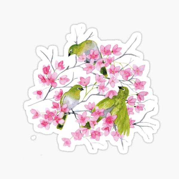 Birds and cherry blossoms Sticker