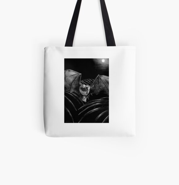 Parnell's Mustached Bat Black and White All Over Print Tote Bag