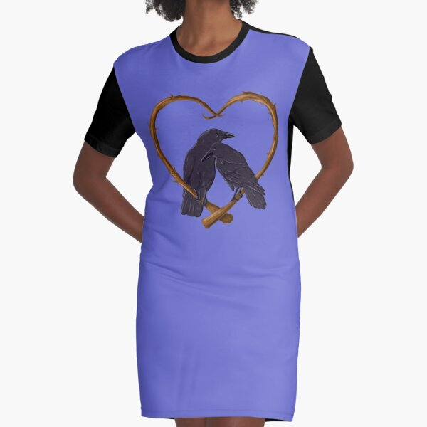 Kissing Crows Graphic T-Shirt Dress