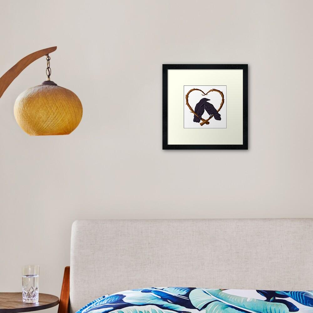 Kissing Crows Framed Art Print