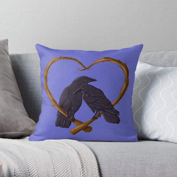 Kissing Crows Throw Pillow