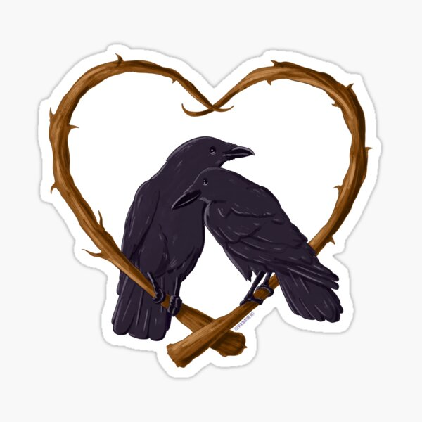 Kissing Crows Sticker