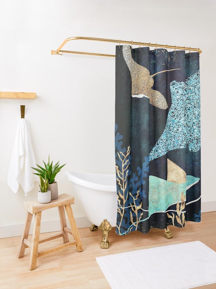 Alternate view of Metallic Stingray II Shower Curtain