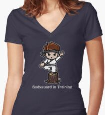Martial Arts/Karate Boy - Crane one-legged stance - Bodyguard Women's Fitted V-Neck T-Shirt