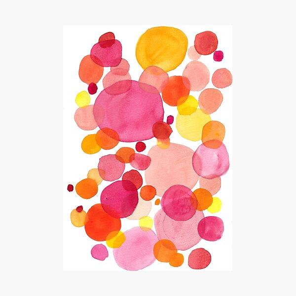 Petals, watercolor drops on vibrant spring colors Photographic Print