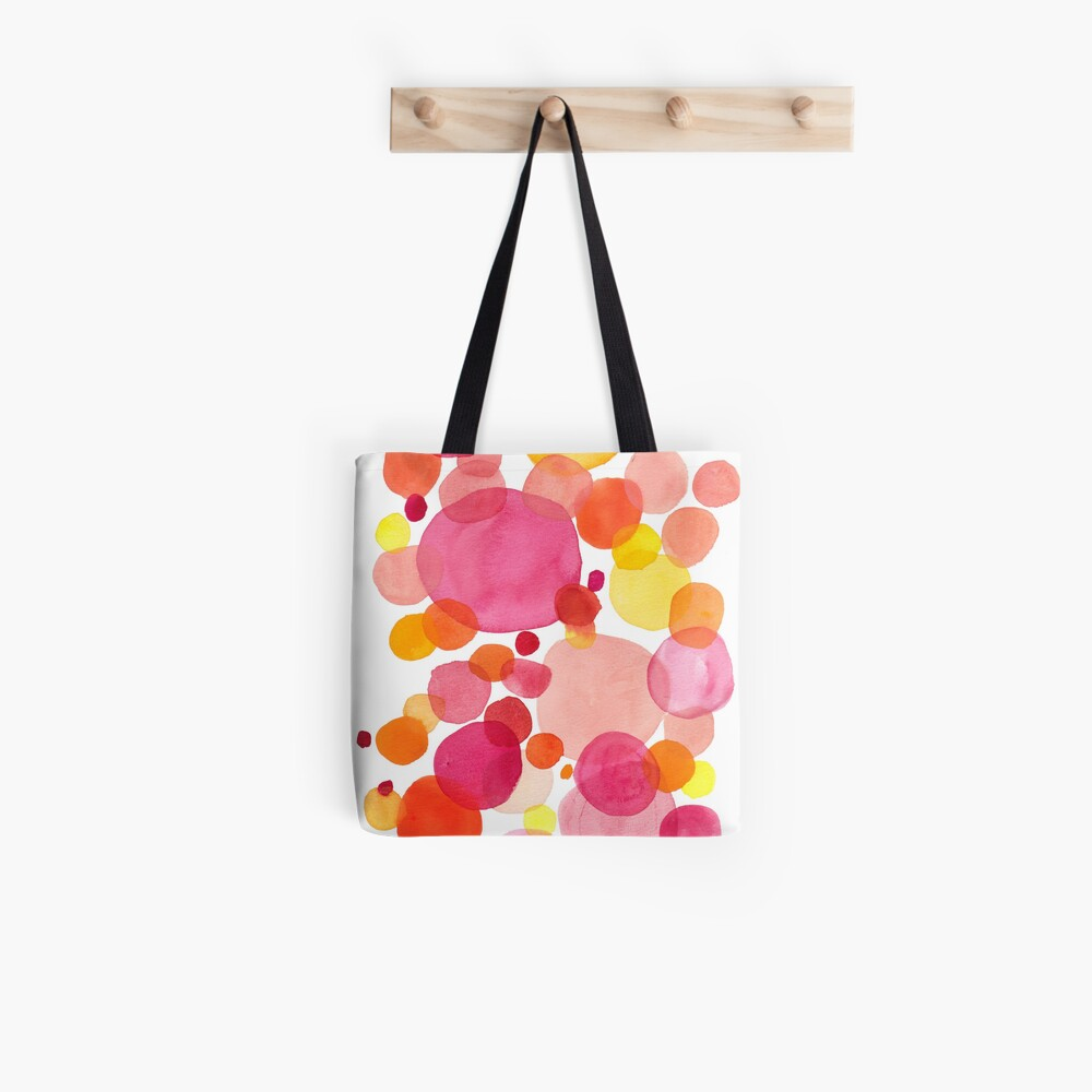 Petals, watercolor drops on vibrant spring colors Tote Bag