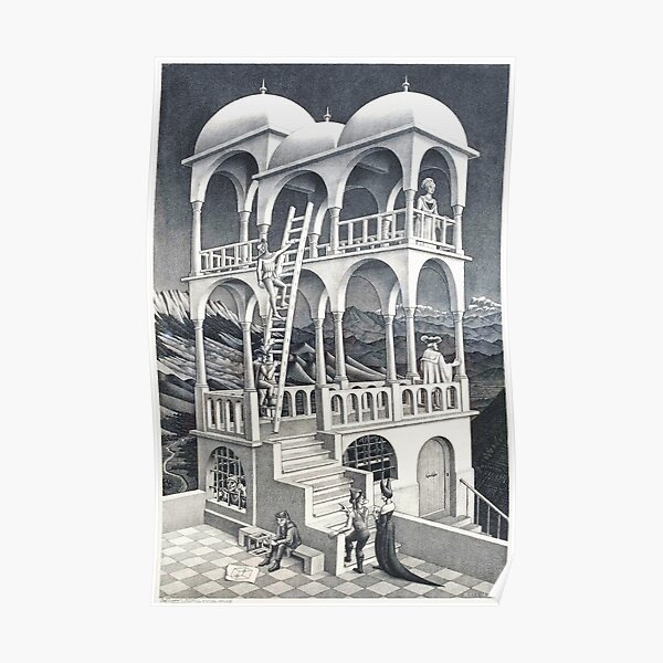 MC Escher Belvedere I 1958 Lithograph Artwork for Posters Prints Tshirts Men Women Kids Poster