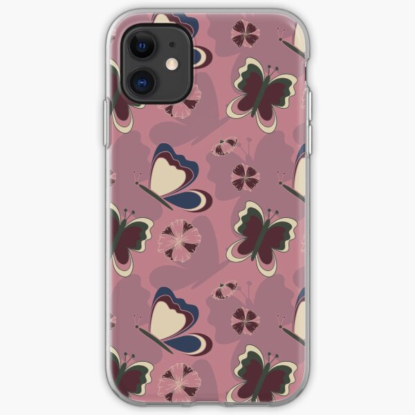 Floral Butterfly Collection Spring Seamless Surface Pattern iPhone Soft Case