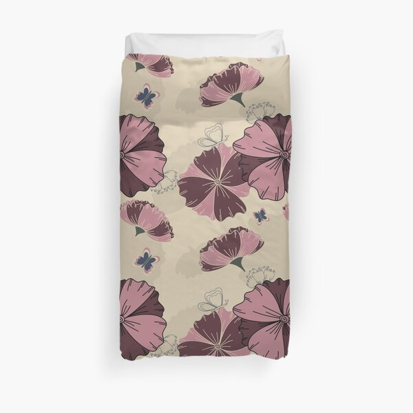 Floral Butterfly Collection Spring Seamless Surface Pattern Duvet Cover