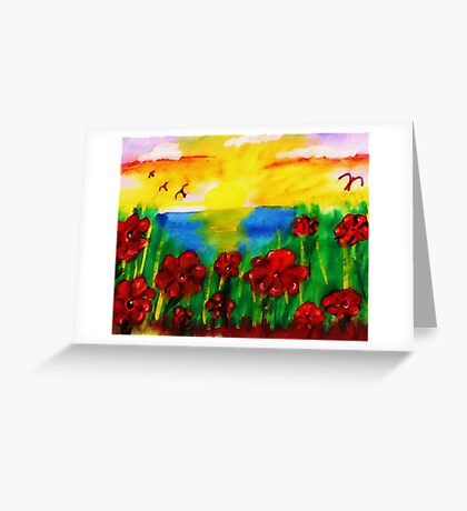 Looking past th flowers at the sunset, watercolor Greeting Card