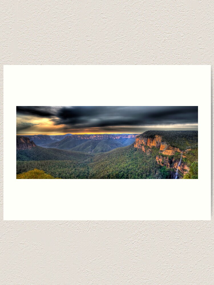 Alternate view of Govetts Leap Sunrise Panorama Art Print
