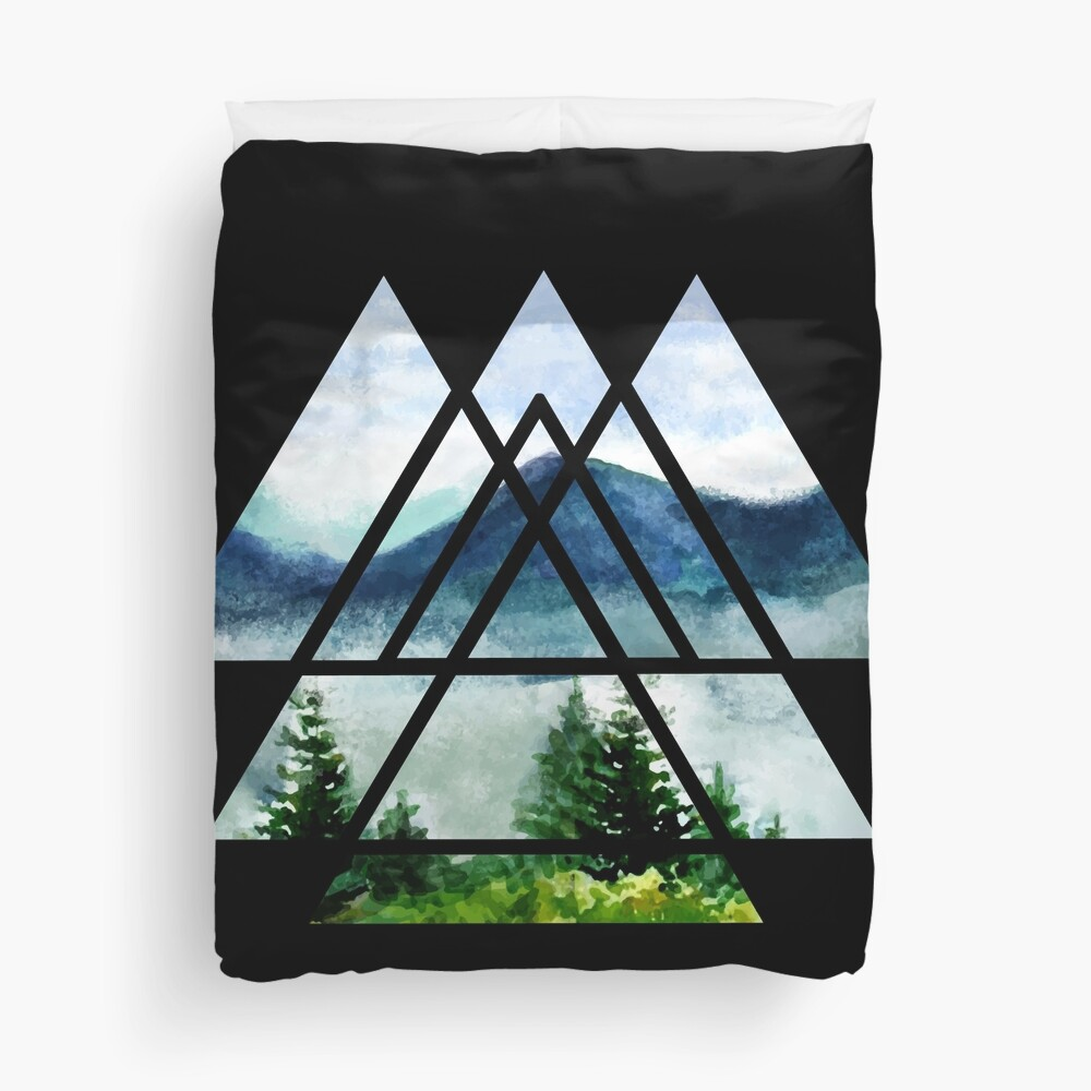 Sacred Geometry Triangles - Watercolor Landscape Duvet Cover