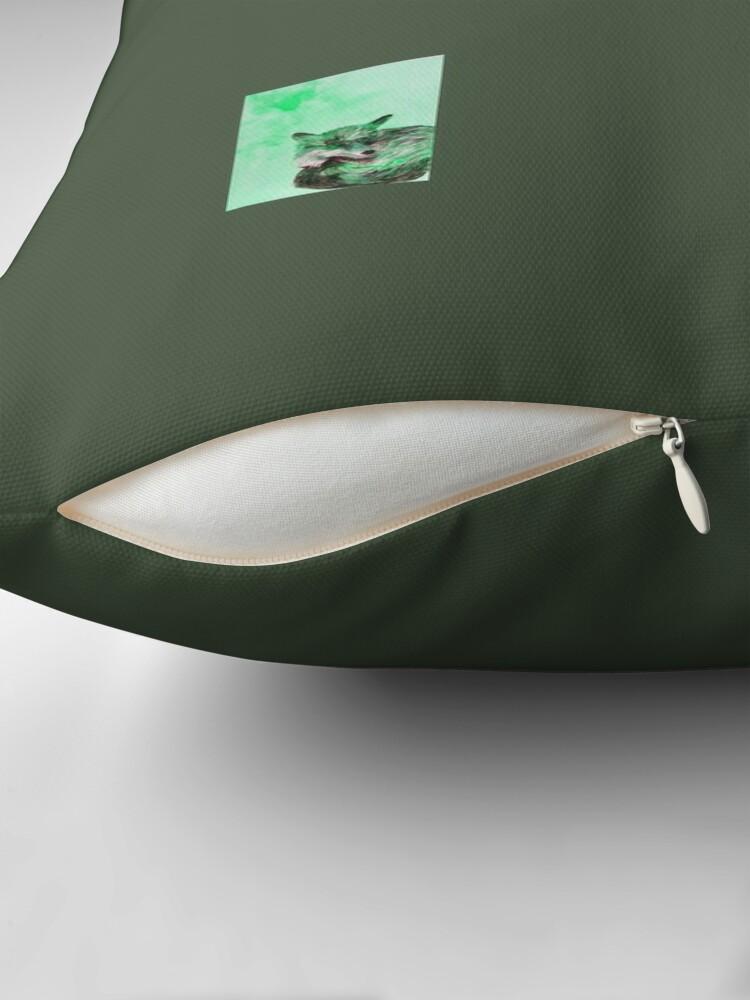 Alternate view of Green Fox Pattern Throw Pillow