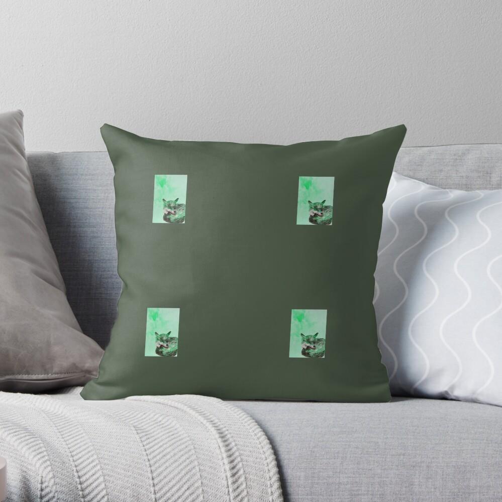 Green Fox Pattern Throw Pillow