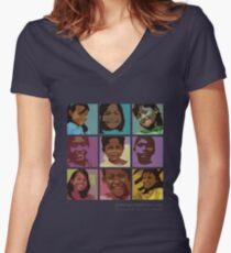 Pop art Geckos Women's Fitted V-Neck T-Shirt