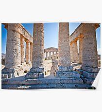 Doric temple in Segesta Poster