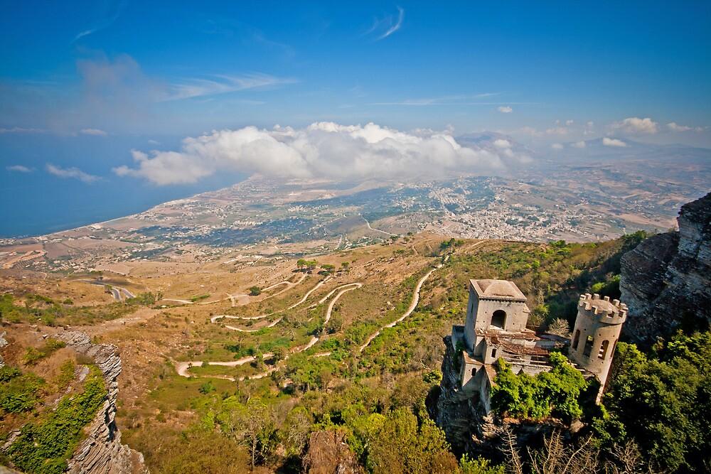 View from erice mountain towards Trapani by mosinski