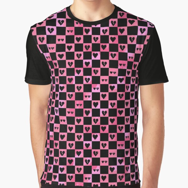 Black Hearts Checkered Pattern Graphic T-Shirt