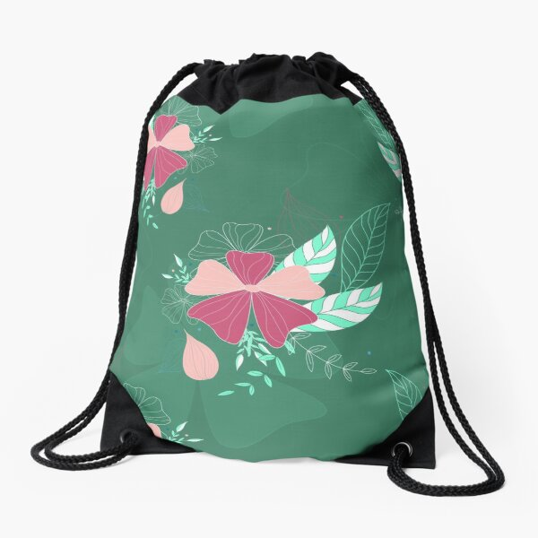 Aleiah Flower Collection Spring Seamless Surface Pattern Drawstring Bag