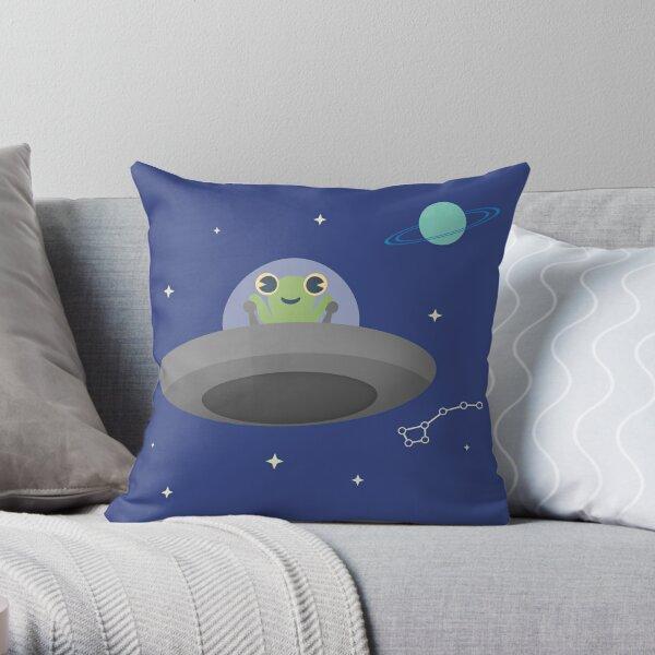 Happy Little Alien Throw Pillow
