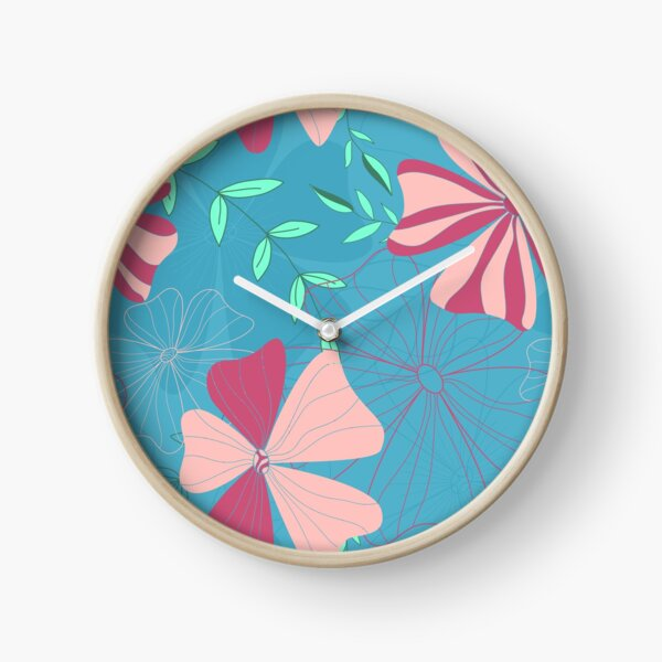Aleiah Flower Collection Spring Seamless Surface Pattern Clock