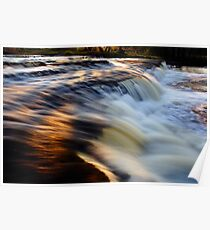 Sunset reflection on waterfall Poster