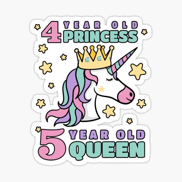 Girls 5 Year Old Birthday Fabulous Unicorn  Sticker