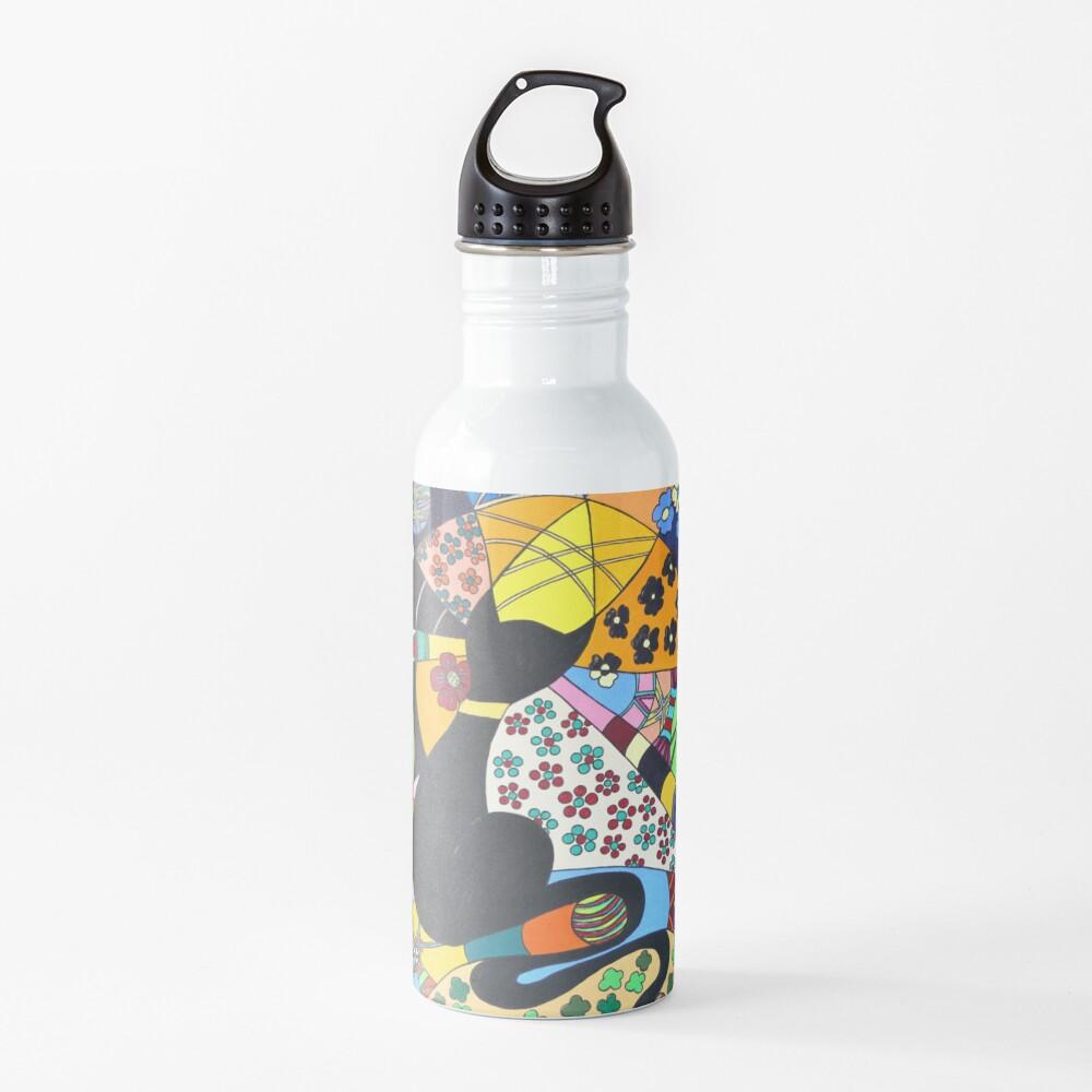 Lady-Kätz, Katze, cat, in Popart Trinkflasche