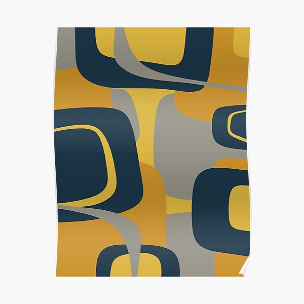 Mid Century Modern Retro Abstract Pattern in Navy Blue, Mustard Yellow, and Gray Poster