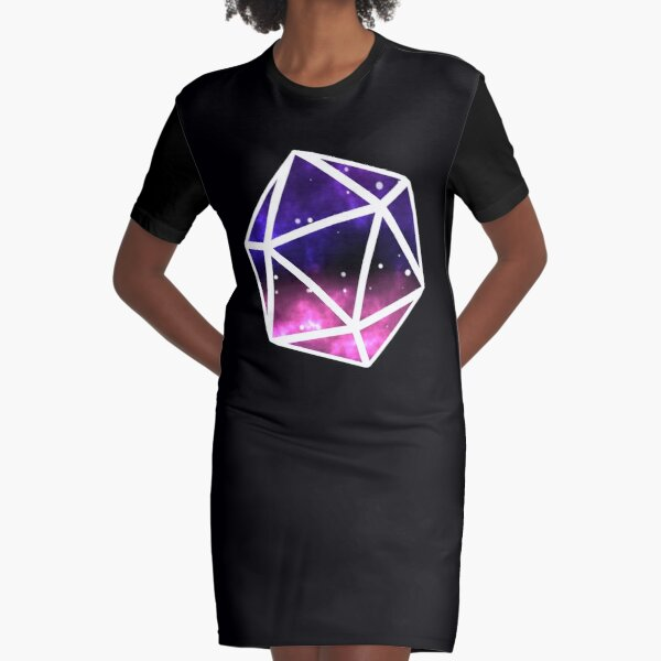 Galaxy print 20 Sided Die Graphic T-Shirt Dress